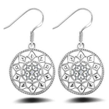 Pair of Charming Geometric Hollow Out Earrings Jewelry For Women
