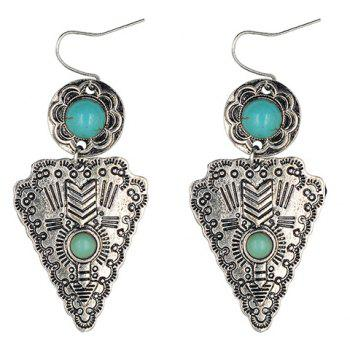 Pair of Faux Turquoise Flower Triangle Earrings