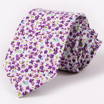 One Set Men's Stylish Fulled Tiny Floral Pattern Tie and Handkerchief - PURPLE