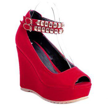 Peep Toe Studded Embellish Wedges