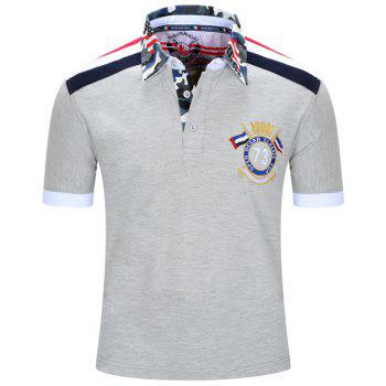 Badge Embroidered Camouflage Spliced Turn-Down Collar Short Sleeve Men's Polo T-Shirt