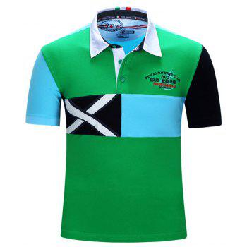 Letters Embroidered Color Block Spliced Turn-Down Collar Short Sleeve Men's Polo T-Shirt GREEN