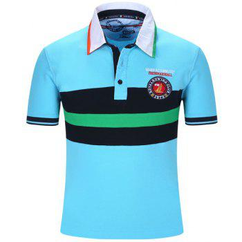 Embroidered Color Block Stripe Turn-Down Collar Short Sleeve Men's Polo T-Shirt