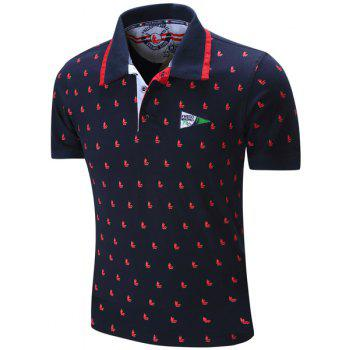 Sailing Print Embroidered Turn-Down Collar Short Sleeve Men's Polo T-Shirt