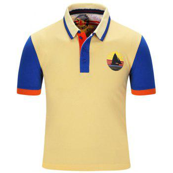 Buy Sailing Print Color Block Stripe Turn-Down Collar Short Sleeve Men's Polo T-Shirt YELLOW