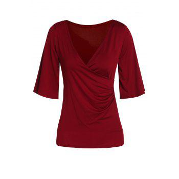 Stylish Half Sleeve Plunging Neck Solid Color Women's T-Shirt
