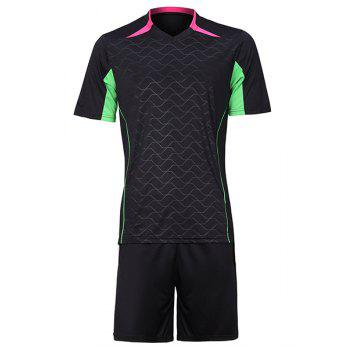 Men's Color Block Sports Style Football Training Jersey Set (T-Shirt+Shorts)