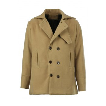 Double Breasted Turn-Down Collar Epaulet Long Sleeve Woolen Men's Peacoat