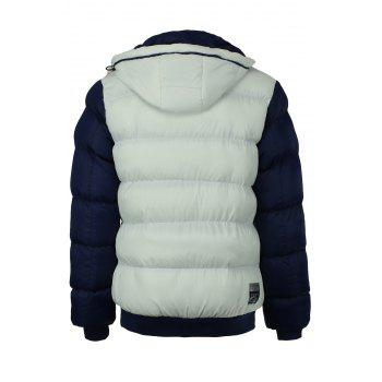 Classic Color Spliced Multi-Zipper Rib Hem Detachable Hooded Long Sleeves Men's Thicken Padded Coat - WHITE 2XL