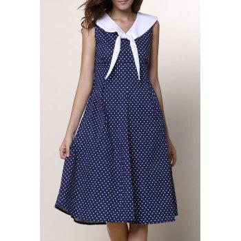 Vintage Women's Sailor Collar Polka Dot Print Sleeveless Dress