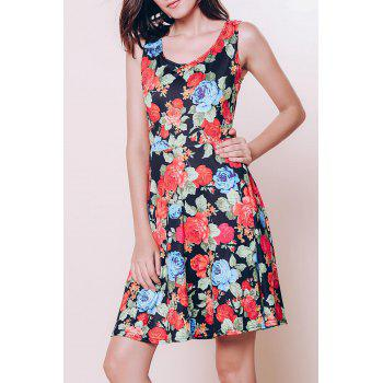 Fresh Women's U Neck Sleeveless Floral Printed Dress