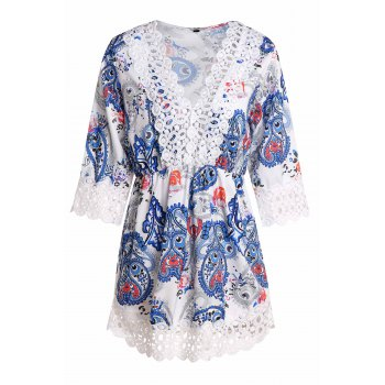 Sexy Women's V-Neck Lace Embellished Paisley Dress