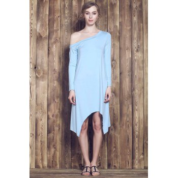 Fresh Style Candy Color Skew Collar Long Sleeve Asymmetric Dress For Women - LIGHT BLUE L