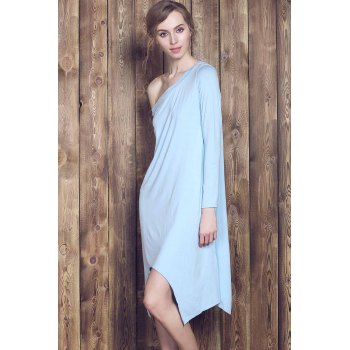 Fresh Style Candy Color Skew Collar Long Sleeve Asymmetric Dress For Women - L L