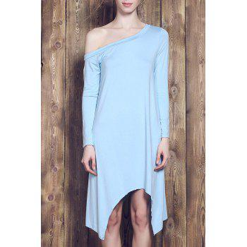 Fresh Style Candy Color Skew Collar Long Sleeve Asymmetric Dress For Women - LIGHT BLUE 2XL