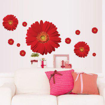 Fashion Daisy Pattern Wall Sticker For Bedroom Livingroom Decoration - RED