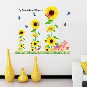 Fashion Sunflowers House Pattern Wall Sticker For Bedroom Livingroom Decoration - COLORMIX