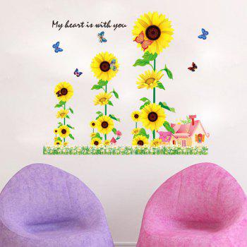 Fashion Sunflowers House Pattern Wall Sticker For Bedroom Livingroom Decoration
