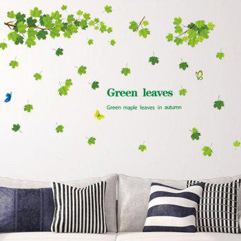 Fashion Green Leaves Pattern Wall Sticker For Bedroom Livingroom Decoration