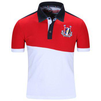 Badge Embroidered Color Block Spliced Turn-Down Collar Short Sleeve Men's Polo T-Shirt RED