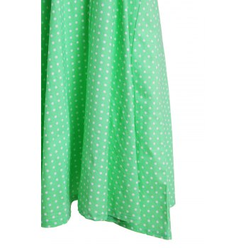 Vintage Polka Dot Halterneck Button Design Women's Dress - GREEN GREEN