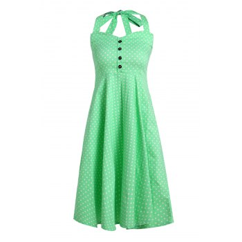 Vintage Polka Dot Halterneck Button Design Women's Dress - GREEN S