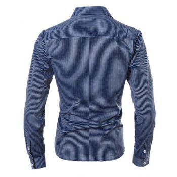 Slimming Shirt Collar Fashion Vertical Stripe Long Sleeve Polyester Men's Casual Shirt - DEEP BLUE L