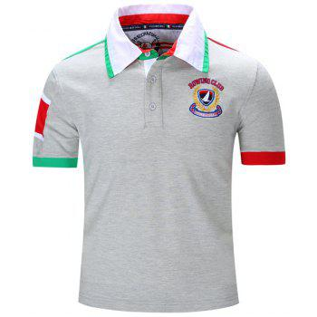 Letters Badge Embroidered Color Block Spliced Turn-Down Collar Short Sleeve Men's Polo T-Shirt GRAY