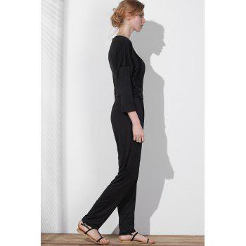 V Neck Surplice Jumpsuit - L L