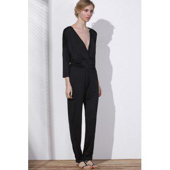 V Neck Surplice Jumpsuit - XL XL