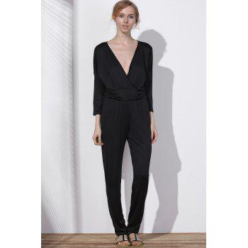 V Neck Surplice Jumpsuit - BLACK 3XL
