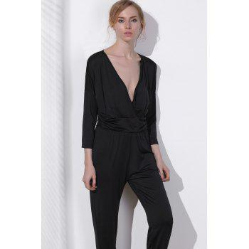 V Neck Surplice Jumpsuit - BLACK BLACK