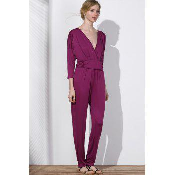 V Neck Surplice Jumpsuit - PURPLISH RED PURPLISH RED