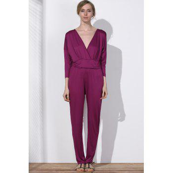 V Neck Surplice Jumpsuit - PURPLISH RED 3XL