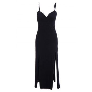 Stylish Spaghetti Strap Slit Solid Color Women's Maxi Dress