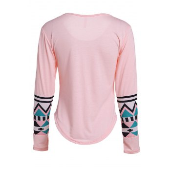 Geometric Color Block Pocket T-Shirt - SHALLOW PINK M