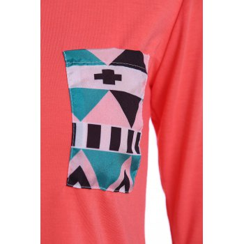 Geometric Color Block Pocket T-Shirt - RED RED