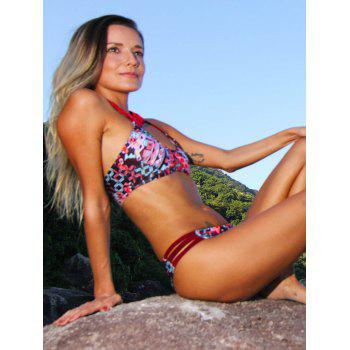 Printed Attractive Halter Bikini Set For Women - COLORMIX XL