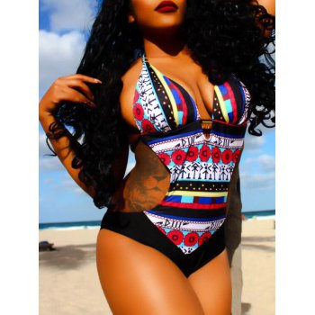 Sexy Halter Hollow Out Printed Spliced One-Piece Women's Swimwear - L L