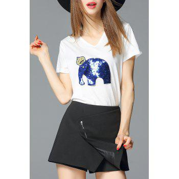 Sequined Elephant Pullover T-Shirt