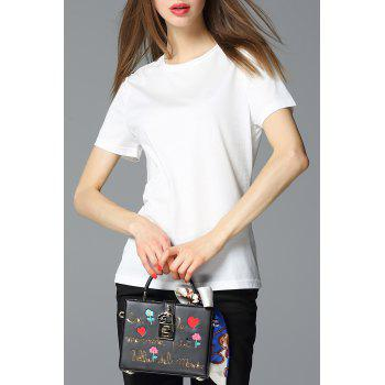 Round Collar Solid Color T-Shirt
