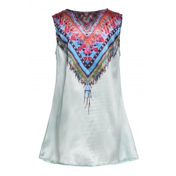 Ethnic Style Sleeveless Scoop Neck Printed Women's Dress - GREEN XL