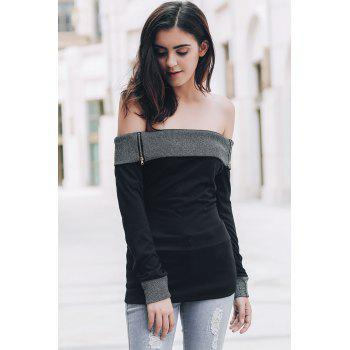Sexy Off-The-Shoulder Long Sleeve Spliced Slimming Women's T-Shirt - BLACK S