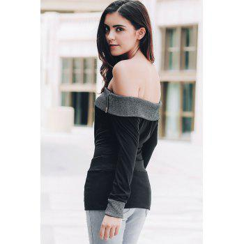 Sexy Off-The-Shoulder Long Sleeve Spliced Slimming Women's T-Shirt - BLACK XL