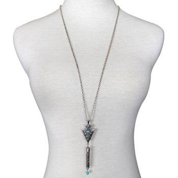 Faux Turquoise Arrow Triangle Sweater Chain -  SILVER