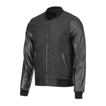 Fashion Waterdrop Design PU Leather Splicing Stand Collar Long Sleeve Slimming Men's Polyester Jacket - BLACK BLACK