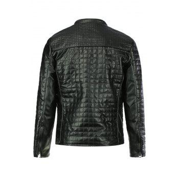 Checked Stand Collar Long Sleeve PU-Leather Slimming Men's Jacket - BLACK BLACK