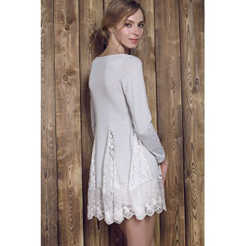 Trendy Long Sleeve Scoop Collar Asymmetrical Lace Splicing Women's Dress - GRAY XL