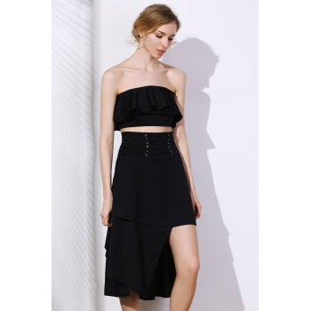 Stylish High-Waisted Lace-Up Solid Color Asymmetrical Women's Skirt - BLACK 2XL