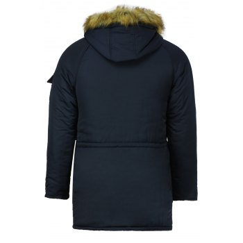 Color Block Multi-Zipper Stereo Patch Pocket Detachable Hooded Long Sleeves Men's Fitted Coat - BLUE M